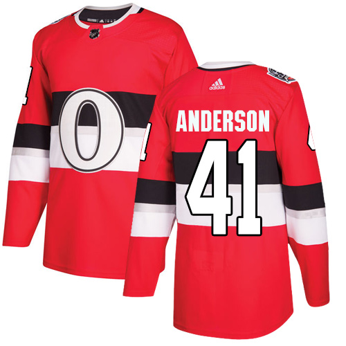 Adidas Senators #41 Craig Anderson Red Authentic 2017 100 Classic Stitched NHL Jersey