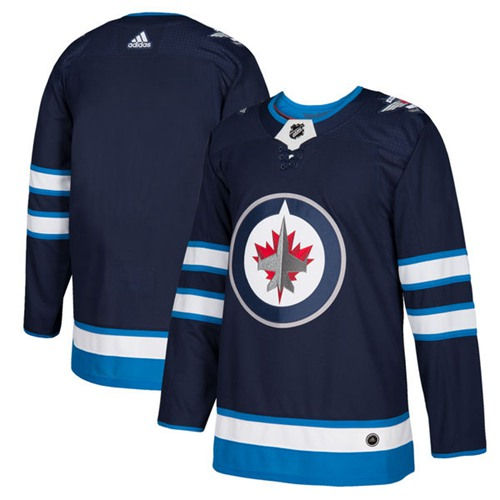 Adidas Jets Blank Navy Blue Home Authentic Stitched NHL Jersey