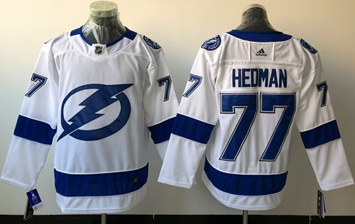 Adidas Lightning #77 Victor Hedman White Road Authentic Stitched NHL Jersey