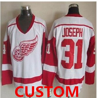 Custom Detroit Red Wings White CCM Throwback Stitched NHL Jersey