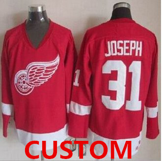 Custom Detroit Red Wings Red CCM Throwback Stitched NHL Jersey