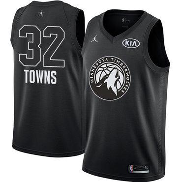 Nike Timberwolves #32 Karl-Anthony Towns Black NBA Jordan Swingman 2018 All-Star Game Jersey