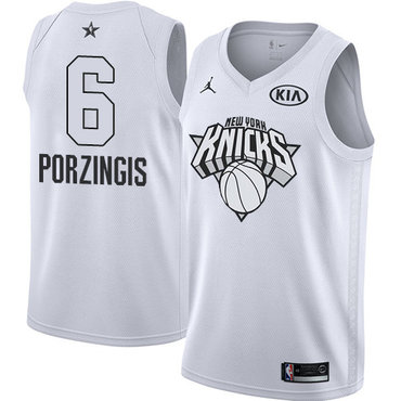 Nike Knicks #6 Kristaps Porzingis White NBA Jordan Swingman 2018 All-Star Game Jersey