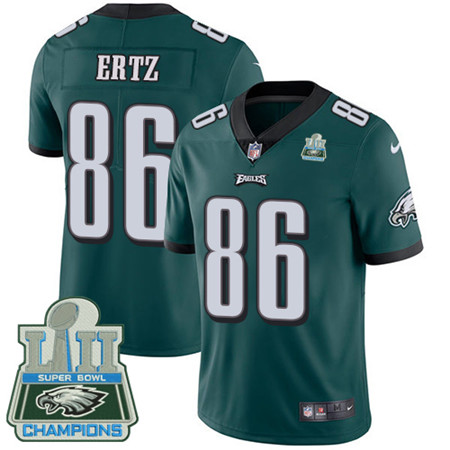 Nike Eagles #86 Zach Ertz Midnight Green Team Color Super Bowl LII Champions Men's Stitched NFL Vapor Untouchable Limited Jersey