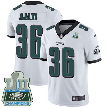 Nike Eagles #36 Jay Ajayi White Super Bowl LII Champions Men's Stitched NFL Vapor Untouchable Limited Jersey