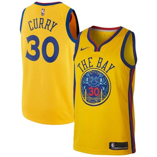 Nike Golden State Warriors #30 Stephen Curry Gold NBA Swingman City Edition Jersey