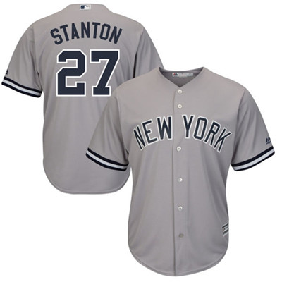 Youth New York Yankees #27 Giancarlo Stanton Grey Cool Base Stitched MLB Jersey
