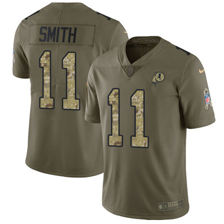 Youth Nike Washington Redskins #11 Alex Smith Olive Camo Stitched NFL Limited 2017 Salute to Service Jersey