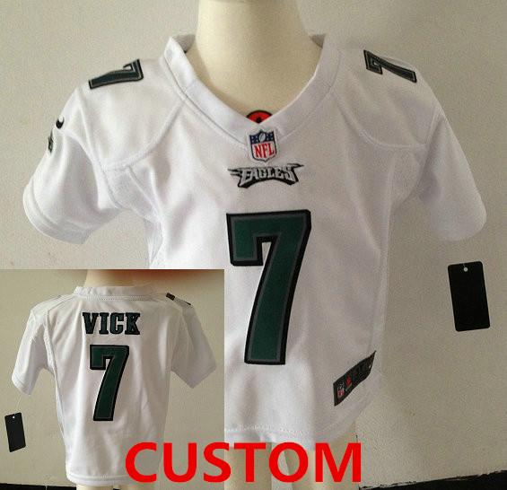 Custom Toddler Philadelphia Eagles White Stitched Nike Jersey