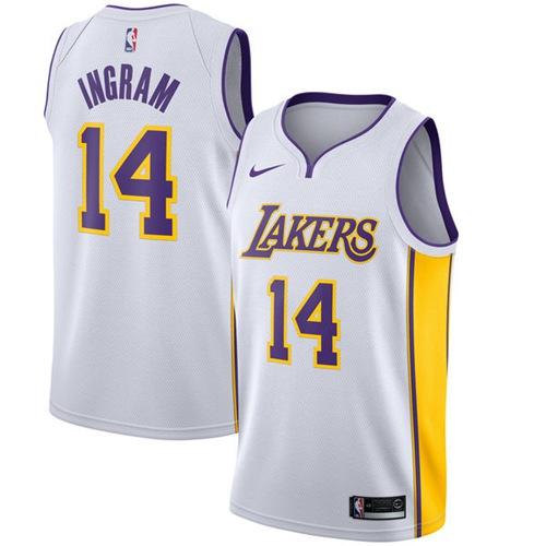 Nike Los Angeles Lakers #14 Brandon Ingram White NBA Swingman Association Edition Jersey