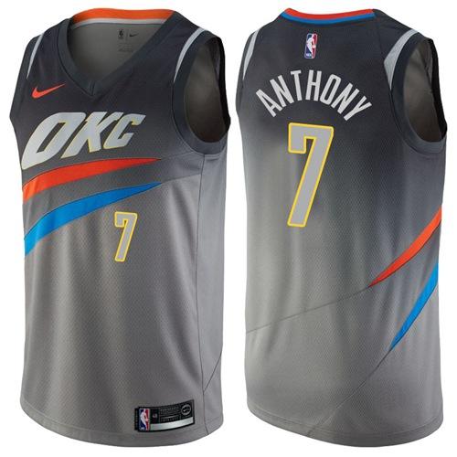 Nike Oklahoma City Thunder #7 Carmelo Anthony Gray NBA Swingman City Edition Jersey