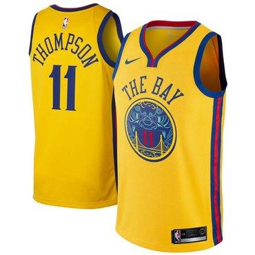Nike Golden State Warriors #11 Klay Thompson Gold NBA Swingman City Edition Jersey