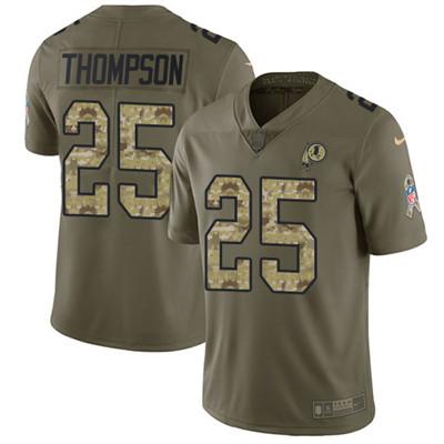 Youth Nike Washington Redskins #25 Chris Thompson Olive Camo Stitched NFL Limited 2017 Salute to Service Jersey