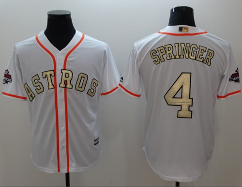 Houston Astros #4 George Springer White 2017 World Series Champions Gold Program Cool Base Stitched Baseball Jersey