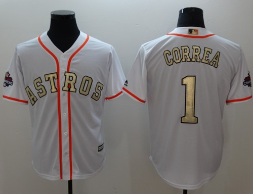 Houston Astros #1 Carlos Correa White 2017 World Series Champions Gold Program Cool Base Stitched Baseball Jersey