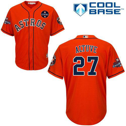 Houston Astros #27 Jose Altuve Orange New Cool Base 2017 World Series Champions Stitched MLB Jersey