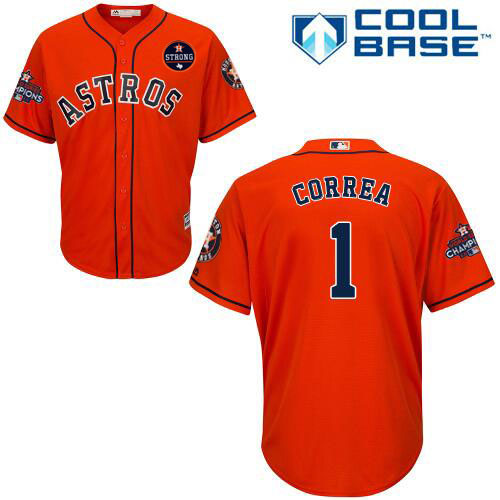 Houston Astros #1 Carlos Correa Orange New Cool Base 2017 World Series Champions Stitched MLB Jersey