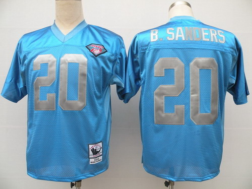 Detroit Lions #20 Barry Sanders Blue 75TH Throwback Jersey