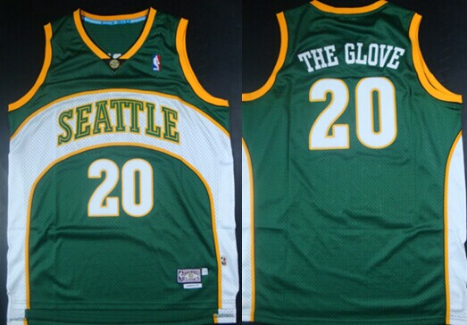 Seattle Supersonics #20 The Glove Nickname Green Swingman Throwback Jersey