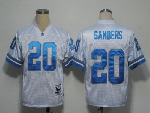 Detroit Lions #20 Barry Sanders White Throwback Jersey