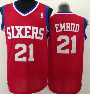 Philadelphia 76ers #21 Joel Embiid Red Swingman Jersey