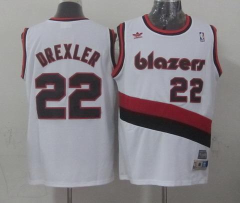 Portland Trail Blazers #22 Clyde Drexler White Swingman Throwback Jersey