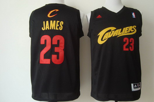 Cleveland Cavaliers #23 LeBron James 2014 Black With Red Fashion Jersey