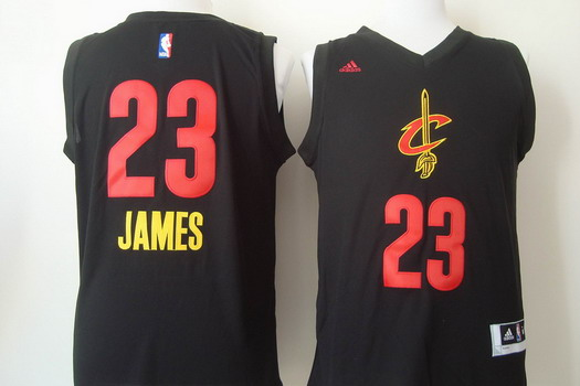 Cleveland Cavaliers #23 LeBron James 2015 Black With Red Fashion Jersey