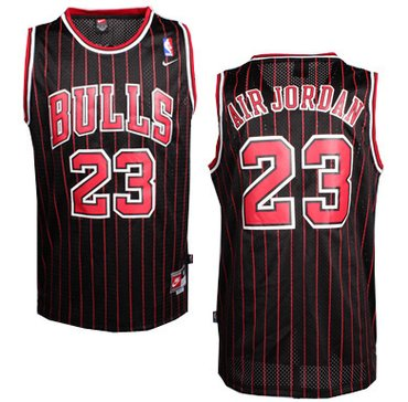 Chicago Bulls #23 Air Jordan Nickname Black Pinstripe Swingman Throwback Jersey