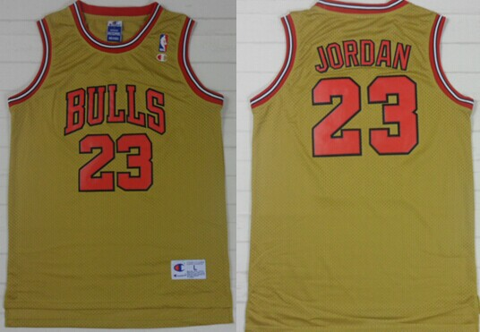 Chicago Bulls #23 Michael Jordan 1997 Gold Swingman Throwback Jersey