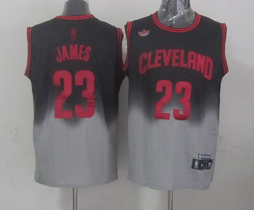 Cleveland Cavaliers #23 LeBron James Black/Gray Fadeaway Fashion Jersey