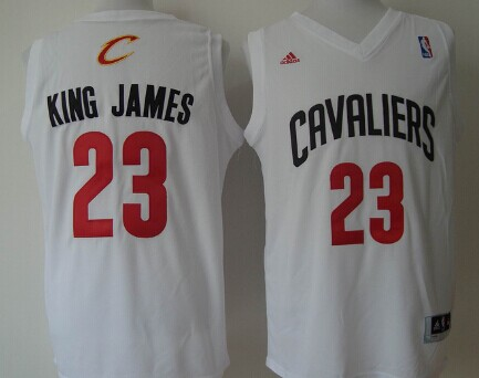Cleveland Cavaliers #23 King James Nickname White With Black Fashion Jersey