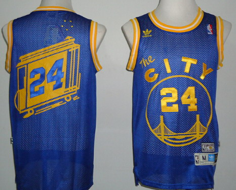 Golden State Warriors #24 Rick Barry The City Blue Swingman Throwback Jersey