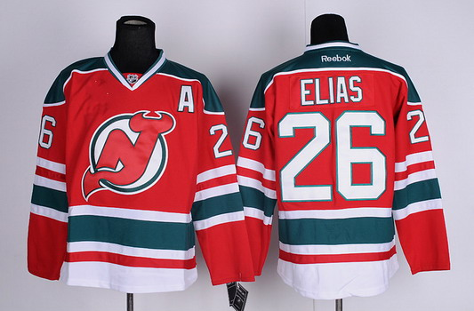New Jersey Devils #26 Patrik Elias Red With Green Jersey
