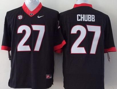 Georgia Bulldogs #27 Nick Chubb 2014 Black Limited Kids Jersey