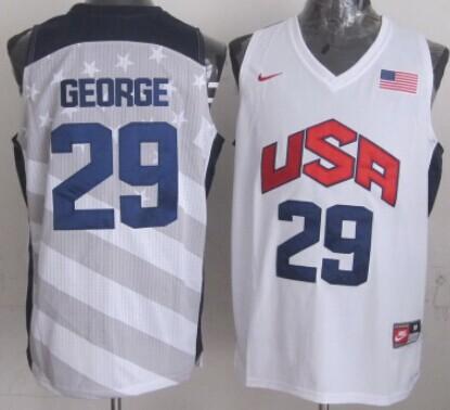 2012 Olympics Team USA #29 Paul George Revolution 30 Swingman White Jersey