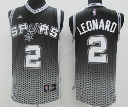 San Antonio Spurs #2 Kawhi Leonard Black/White Resonate Fashion Jersey