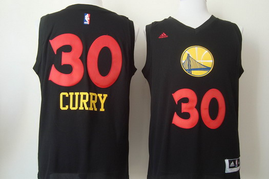 Golden State Warriors #30 Stephen Curry 2015 Black With Red Fashion Jersey