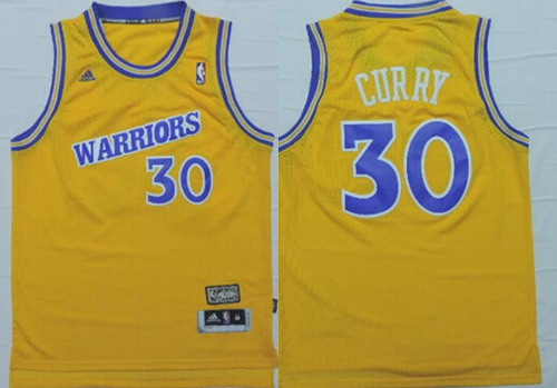 Golden State Warriors #30 Stephen Curry 1988-89 Yellow Swingman Throwback Jersey