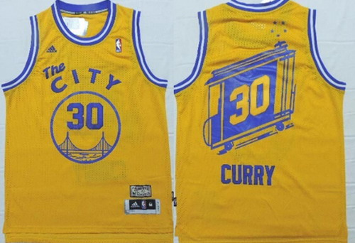 Golden State Warriors #30 Stephen Curry The City Yellow Swingman Throwback Jersey