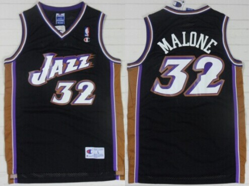 Utah Jazz #32 Karl Malone Black Swingman Throwback Jersey