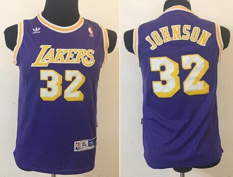 Los Angeles Lakers #32 Magic Johnson Purple Swingman Throwback Kids Jersey