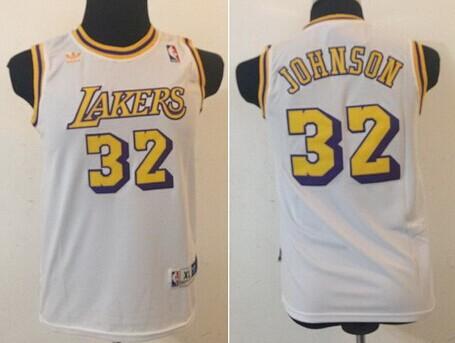 Los Angeles Lakers #32 Magic Johnson White Swingman Throwback Kids Jersey
