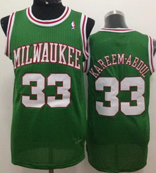 Milwaukee Bucks #33 Kareem Abdul-Jabbar Green Swingman Throwback Jersey