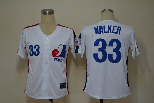 Montreal Expos #33 Larry Walker 1982 White Throwback Jersey