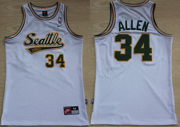Seattle Supersonics #34 Ray Allen White AU Swingman Jersey