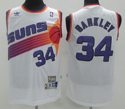 Phoenix Suns #34 Charles Barkley White Swingman Throwback Jersey