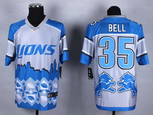 Nike Detroit Lions #35 Joique Bell 2015 Noble Fashion Elite Jersey
