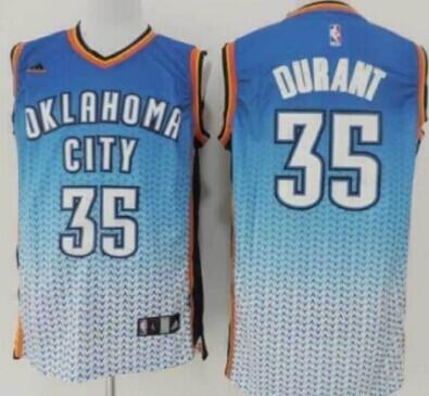 Oklahoma City Thunder #35 Kevin Durant Blue/White Resonate Fashion Jersey