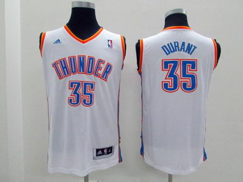 Oklahoma City Thunder #35 Kevin Durant White Kids Jersey